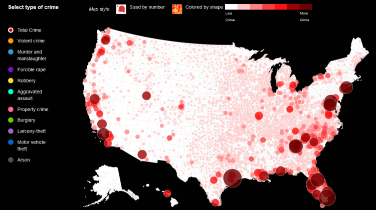 Map of Crimes in the U.S.