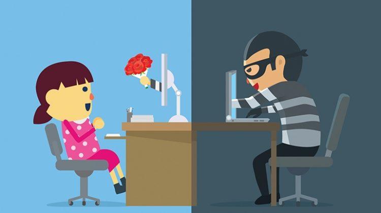 man deceiving woman through online dating