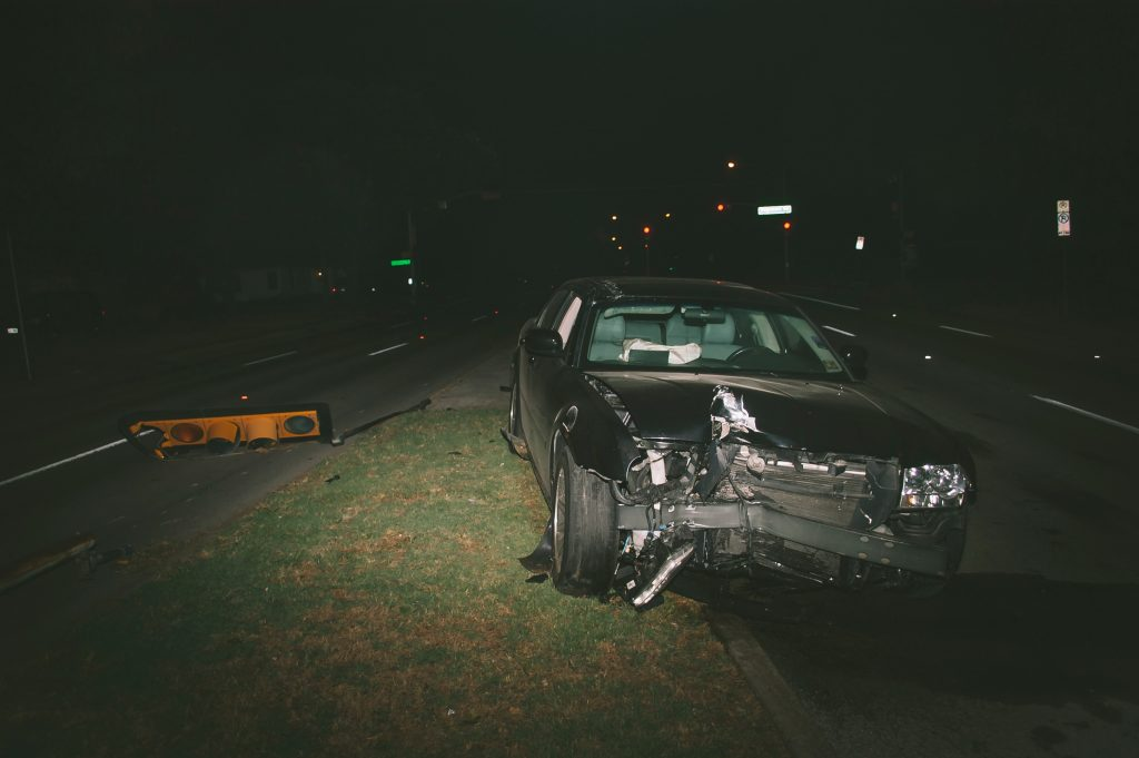 car crash at night