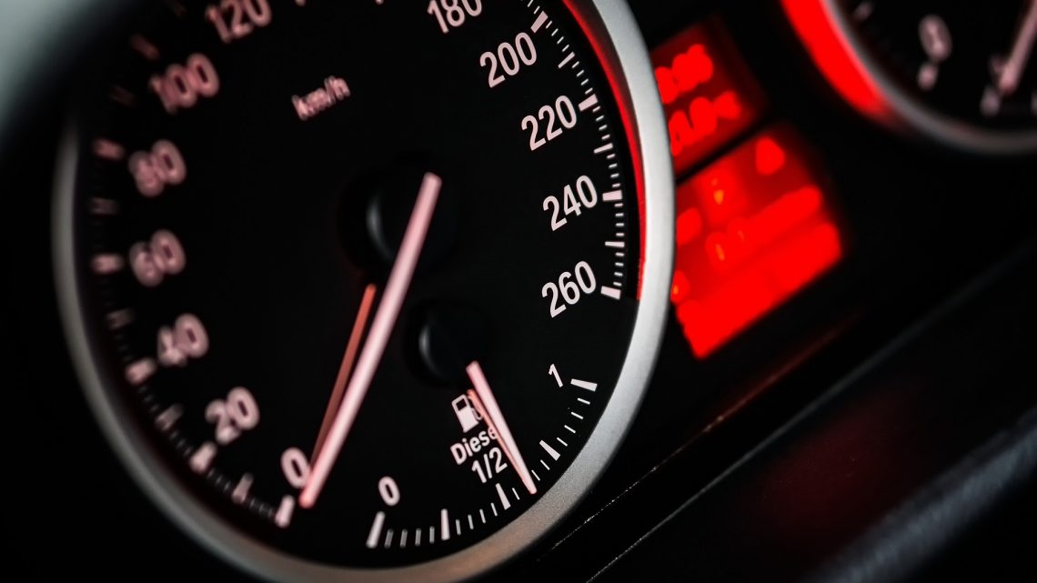 Car speedometer showing slow speed