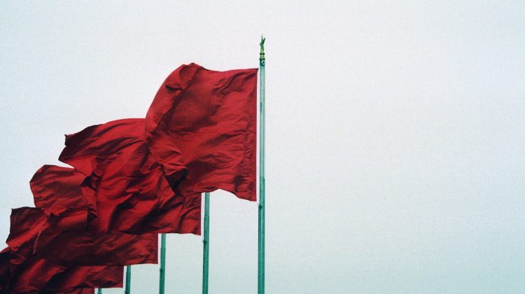 row of red flags